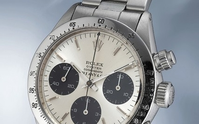 "Rolex, Ref. 6265 A fine and very rare stainless steel chronograph wristwatch with aubergine ""tropical"" dial, bracelet, guarantee and box"