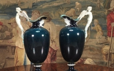 A pair of Wedgwood majolica ewers