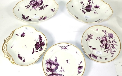 A Derby Porcelain Part Dessert Service, circa 1820, painted in...
