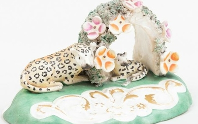 Staffordshire Figure Group of a Leopard and Cub