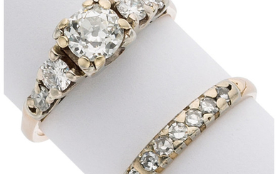 Diamond, Gold Ring Set The ring set features a...
