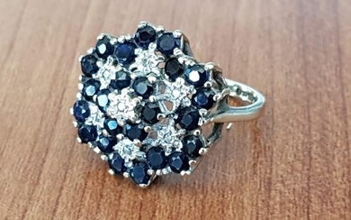 Gold, Diamond and Sapphire Cluster Ring; 9ct Gold Ring with ...