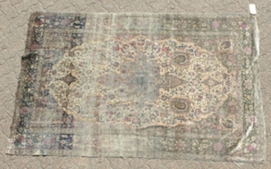 A PERSIAN SILK MOHTASHAM of fine quality, some wear.