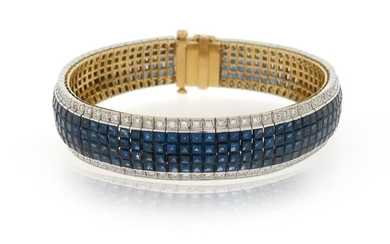 A sapphire and diamond bracelet, set with calibre-cut...