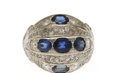 Christian Schmidt Rasmussen: A diamond ring set with numerous single, old and rose-cut diamonds and oval-cut synthetic sapphires mounted in 14k gold. Size 49.