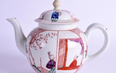 AN 18TH CENTURY LOWESTOFT TEAPOT AND COVER painted with