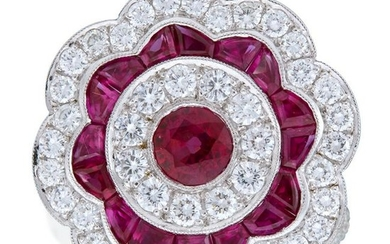 A diamond, ruby, and platinum ring,