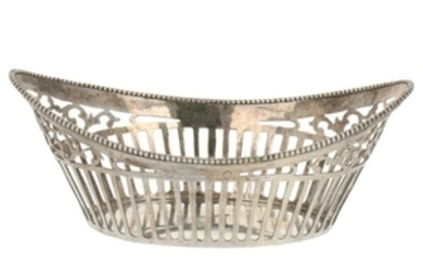 Bonbon basket with ajour openwork and finished with soldered pearl ring silver.