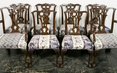Eight, Mahogany Chippendale Style Dining Chairs