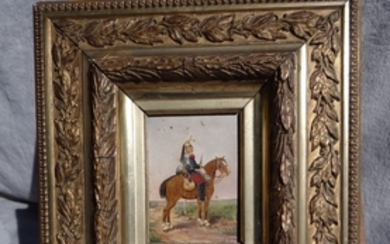 SIGNED FRAMED O/P PAINTING OF CAVALIER ON HORSEBACK