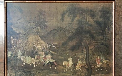 CHINESE PAINTING ON PAPER OF TROOPS ON HORSES