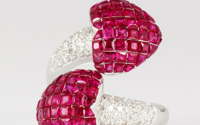 Ruby, diamond, and 18k white gold heart ring