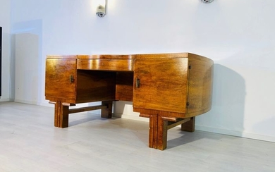 French Art Deco desk in solid walnut with brass handles