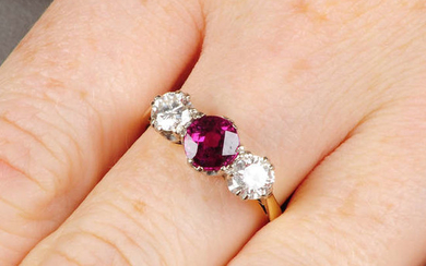 An 18ct gold Thai ruby and brilliant-cut diamond
