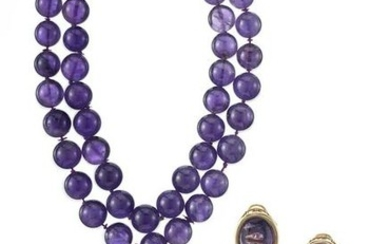 Amethyst, Baroque Pearl and Hematite Suite