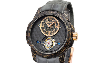 ATELIERS DE MONACO TOURBILLON – OCULUS 1297 ONLY WATCH Equipped with the manufacture dMc-980 calibre, the watch is designed, produced, and assembled in Ateliers de Monaco's workshops. Its patented tourbillon movement called Tourbillon XP1 (eXtreme...,