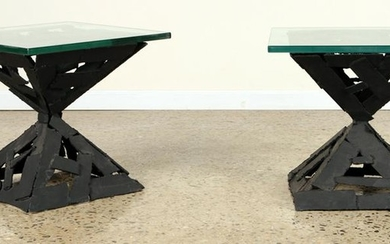 PAIR BRUTALIST STYLE IRON AND GLASS TOP TABLES