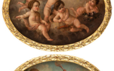 A PAIR OF EARLY 19TH CENTURY OVAL PAINTINGS OF CHERUBIM