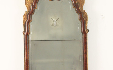 ENGLISH WALNUT AND PARTIAL GILT MIRROR
