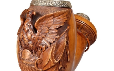 EXCEPTIONAL CARVED BOXWOOD AND REPOUSSE METAL-MOUNTED MEERSCHAUM PIPE TRADE SIGN, WILLIAM DEMUTH COMPANY, NEW YORK, CIRCA 1880