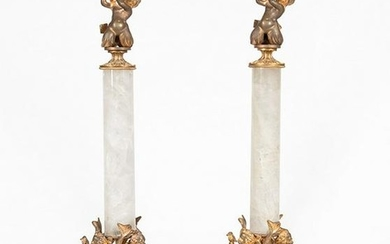 French Rock Crystal & Bronze Candlesticks