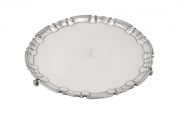 A late Victorian silver shaped circular salver by William Hutton & Sons Ltd