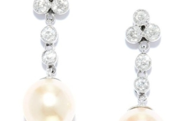PEARL AND DIAMOND DROP EARRINGS in 18ct white gold or