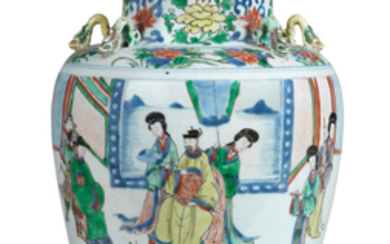 A rare wucai 'Palace ladies' jar