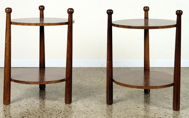 PAIR ROUND OAK END TABLES MANNER OF JEAN ROYER