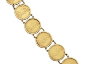 A sovereign bracelet, composed of seven mounted...