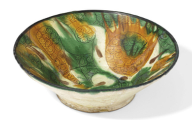 A TANG-SPLASHED CONICAL POTTERY BOWL, EASTERN IRAN, 10TH CENTURY