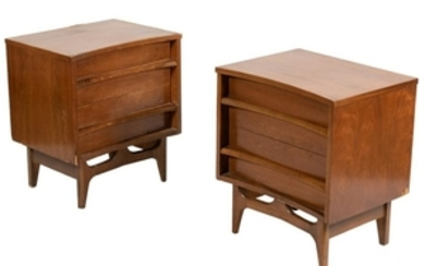 Young Mfg - Concave Walnut Night Stands