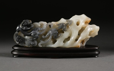 Chinese Celadon and Grey Carved Rock and Dragon Carving, Modern FR3SHLM