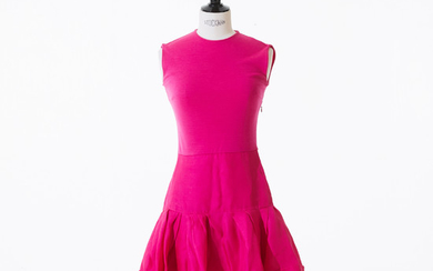 Christian Dior sleeveless dress in cerise pink cot