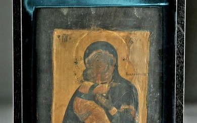 18th C. Russian Icon - Virgin of the Kiss