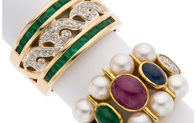 Multi-Stone, Diamond, Cultured Pearl, Gold Rings The ring features...