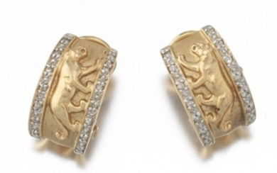 Ladies' Gold and Diamond Cartier Style Pair of Panther Earrings