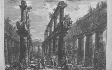 Piranesi, Giovanni: Temple of Neptune in Paestum, View of the Interior from the West, Year 1778