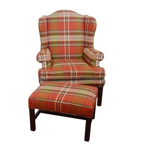 Lot Art Plaid Upholstered Wingback Chair And Ottoman