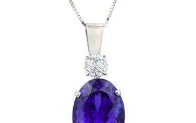 A 26.99-Carat Oval-Shaped Tanzanite and Diamond Necklace
