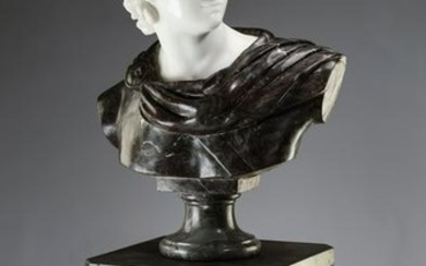 Carved marble bust of Apollo Belvedere w/ pedestal