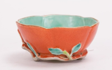 CHINESE CORAL RED PORCELAIN BOWL WITH FRUIT VINE