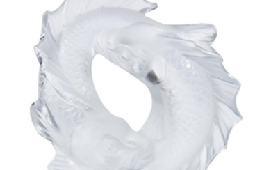 A Lalique Deux Poissons France, 20th century Frosted glass,...