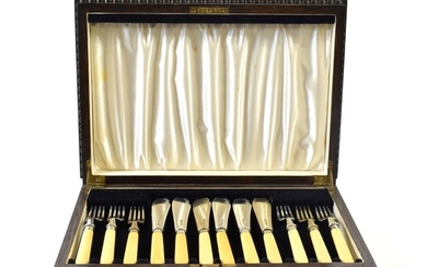 A Set of Six Silver-Mounted Ivory Fish-Eaters, The Blades and...