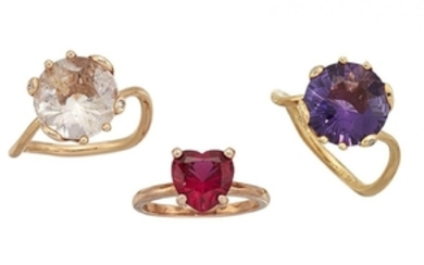 """Three gem rings including two """"Oui"""" rings,..."""