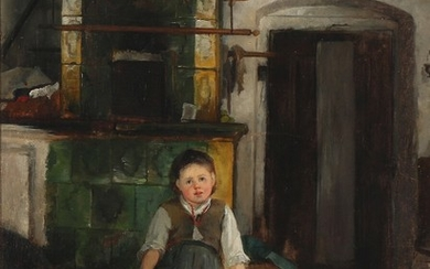 Bertha Wegmann: Kitchen interior with a girl sitting on a table near the heating stove. Signed and dated B. Wegmann 1872. Oil on canvas. 62.5×48 cm.