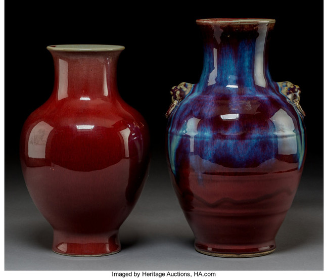 21004: Two Chinese Flambé Glazed Porcelain Vases