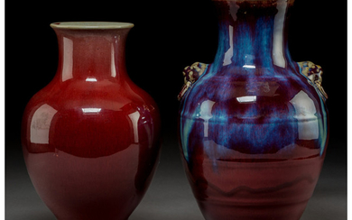 Two Chinese Flambé Glazed Porcelain Vases (Qing dynasty )