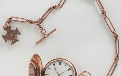 9kt Rose Gold Hunter-case Watch and Chain