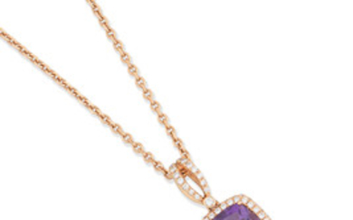 An amethyst and diamond pendant necklace and ring, by